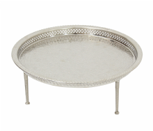 Moroccan Serving Tray Low Table with Screwed on Removable Legs Silver Maillechort Large: 56 cm